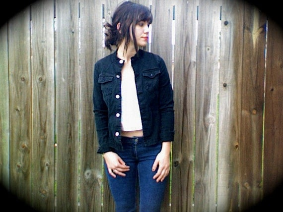 Black Denim - Fitted - Button Up Jacket - Size Small