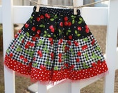 Cherry Twirl Skirt in Red and Black