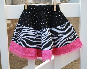 Twirl Skirt in Zebra and Pink