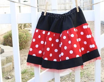 Minnie Mouse Twirl Skirt in Red and White
