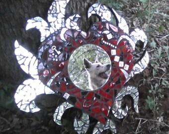 glass mosaic heart, mosaic mirror, burning heart mosaic, flaming heart, tattoo art, tattoo mosaic art, mosaic mirror art
