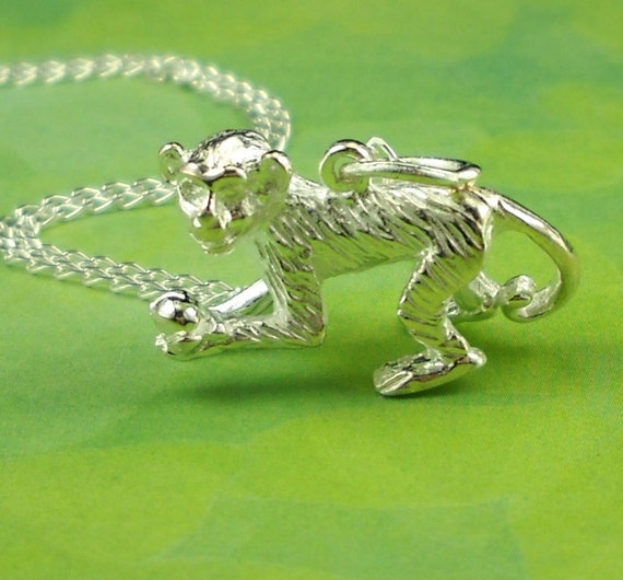 Monkey Necklace Sterling Silver Charm