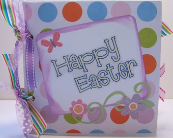 Happy Easter Paper Bag scrapbook in White with colorful polka dots and vibrant Spring colored ribbon