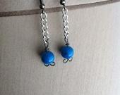 Infinity Blue Glass Bead & Chain Dangle Earrings