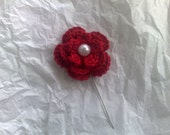 """Cherry Red Flower 2"""" Hijab/Corsage Pin"""