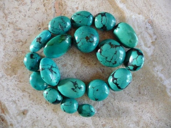 Genuine Turquoise Beads Oval One Strand