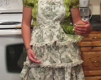 Green Toile Print Country Apron