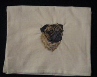 Pug Flour Sack Dish Towel