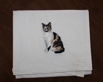 Calico Cat Flour Sack Dish Towel
