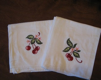 Pair of Machine Embroidered Cherry Flour Sack Dish Towels