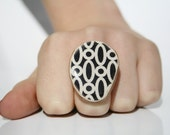 Black Geometric Statement Ring Statement  jewelry eco friendly jewelry minimalist jewelry nature lover jewelry