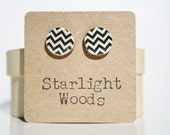 Black and white Chevron studs earrings Geometric Chevron jewelry eco-friendly starlight woods