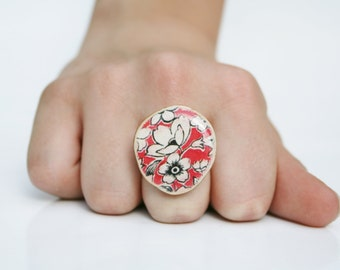 Red Statement Ring. Red Floral Ring. Red Flower Ring. Wood Ring. Wood Statement Ring. Red Adjustable Ring. Starlight Woods
