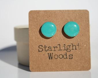 Turquoise wood Stud Earrings. Blue Stud wooden Earrings. Blue Earrings. Blue Studs. Blue post Earrings. Wood Earrings. Hypoallergenic.