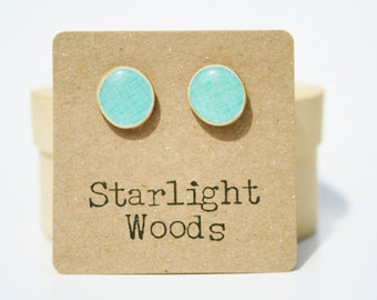 Sky blue stud earrings. Blue studs, Blue earrings. Gift for Women. Wood stud earrings