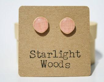Pink Stud Earrings. Pink Post Earrings. Pink Earrings.  Wood Earrings. Minimalist jewelry  eco friendly