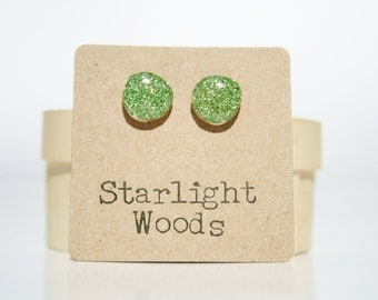 Green Glitter Stud Earrings • Sparkle earrings • Gifts For Her • Simple Everyday Earrings • Dainty Earrings
