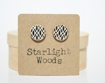 Stud wood Earrings black and white jewelry Geometric jewelry wood earrings minimalist jewelry eco-friendly unique gift for her