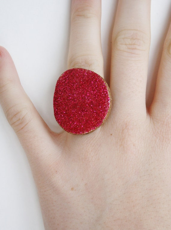 Cocktail Ring ruby red sparkle / wood jewelery / red ring / Chunky ring, Customized gifts