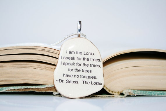 Lorax pendant necklace wood, Dr. Seuss gift, lorax jewelry, nature lover gifts, reclaimed wood gift