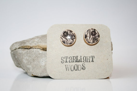 Stud wood Earrings black floral ,  reclaimed wood earrings, nature lover, nature gift, eco-friendly, unique gift for her