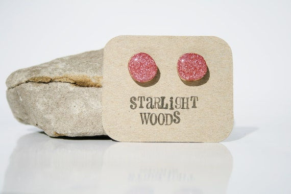 Earrings pink sparkle stud wood earrings reclaimed wood earrings gift for nature lover nature gift eco-friendly unique gift for her