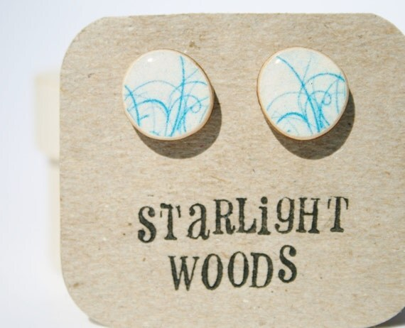 Stud wood Earrings blue abstract design reclaimed wood earrings nature lover nature gift eco-friendly unique gift for her