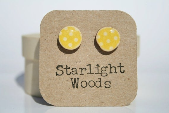 Stud wood Earrings spring jewelry yellow polka dot  eco fashion earrings nature lover nature gift eco-friendly unique gift for her