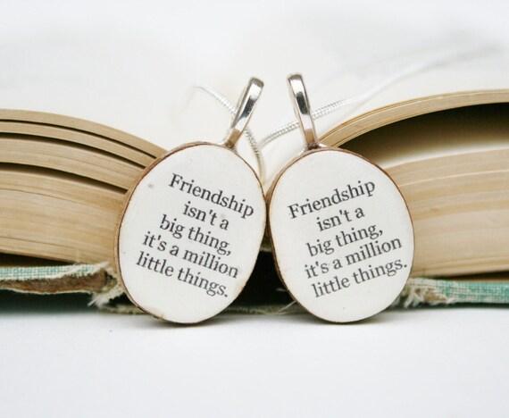 Best friend necklace set wood, best friend gift , gift for best friend , Quote necklace  friendship gift, best friends