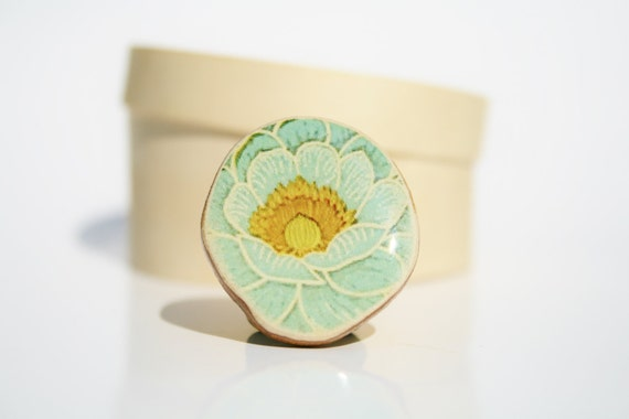 Wood Statement Ring blue vintage floral flower power wood jewelry  floral jewelry eco friendly nature gift