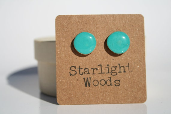 Turquoise wood Stud Earrings. Blue Stud Earrins. Blue Earrings. Blue Studs. Blue post Earrings. Wood Earrings. Hypoallergenic.