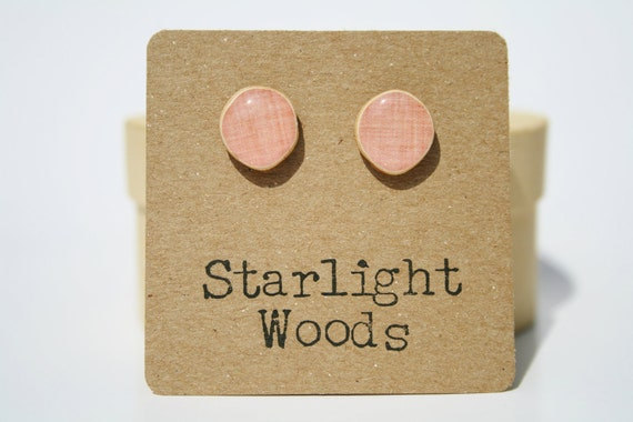 Pink Stud Earrings. Pink Post Earrings. Pink Earrings.  Wood Earrings. Minimalist jewelry  eco friendly