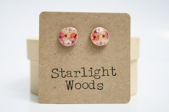 Pink Floral Stud Earrings. Wood Earrings  Summer fashion post earrings minimalist jewelry gift for her nature gift eco-friendly
