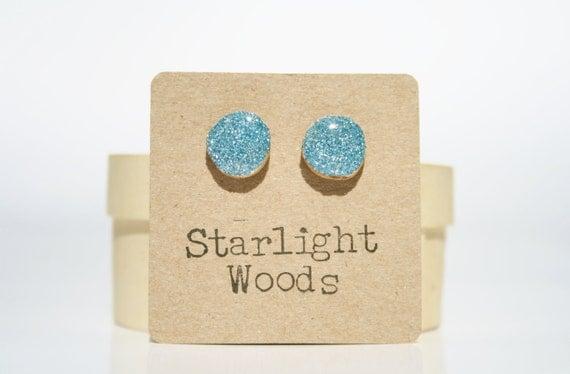 Blue sparkle stud earrings  post earrings blue sparkle resin jewelry wood studs eco fashion wood earrings Minimalist jewelry  eco friendly