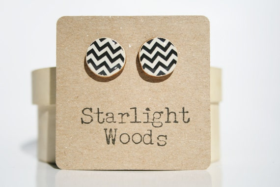 Black and white Chevron studs earrings Geometric Chevron jewelry eco-friendly starlight woods