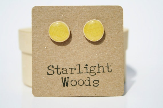 Yellow stud earrings yellow earrings, yellow studs, stud earrings, wood earrings, Minimalist jewelry, teen jewelry,  eco friendly studs