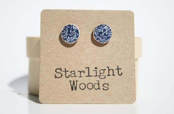 Navy Blue Flower Stud Earrings minimal, stud earrings Wood Earrings Blue post earrings. Gift for women eco-friendly