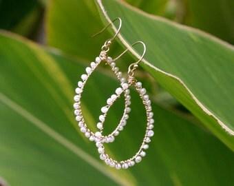 Freshwater pearl hoops