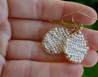 Pearl gold wire wrapped Jamie earrings