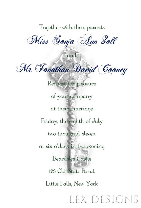 Victorian Skeleton Key Wedding Invitation - DIY Digital