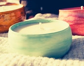 Ceramic Pottery Bowl with Scented Soy Candle
