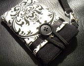 iPhone 5 Wristlet iphone /black berry/ degital camera/ pouch case sleeve---Damask Black and White