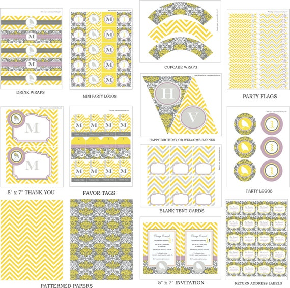 LITTLE BIRD Birthday Party or Baby Shower - Yellow and Gray printables Party Package - Girls Party