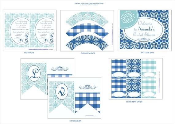 BLUE AND WHITE Bridal Shower Printables - Blue and White Party Printables Package - Blue and White Bridal Shower Invitation