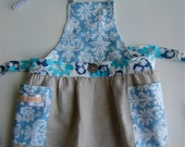 Half/Full colorful, versatile, toddler apron, for collecting , cooking or dressing up