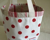 Red and White Polka Dots, reversed to Khaki and red Stripes,  Fabric Bucket, Tote, Beach Bag