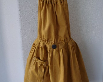Full APRON, gathered, 100%  Linen, golden yellow, with one black button, drawstring at neck and waist