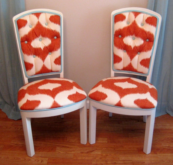 Contemporary Chic Ikat Vintage Side Chairs