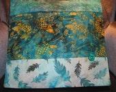 "14"" x 14"" Exotic Koi Fish Pond Asian Blues Fine Batiks Unique PILLOW cover and insert"