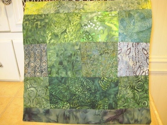 "14"" x 14"" Deep Solitude Woodland Greens Forest Fine Batiks Pillow Cover"
